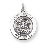 Jewelry Factory St Michael Charm In Silver 14kt Gold R5052