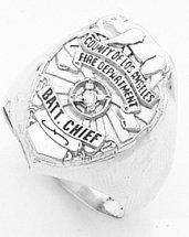 White gold Los Angeles County Fire Department Ring