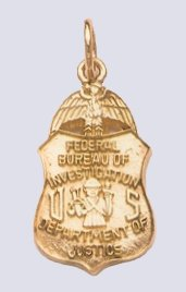 "FBI 7/8"" pendant in gold JewelryFactory.com"