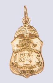"FBI 7/8"" pendant in gold JewelryFactory.com"
